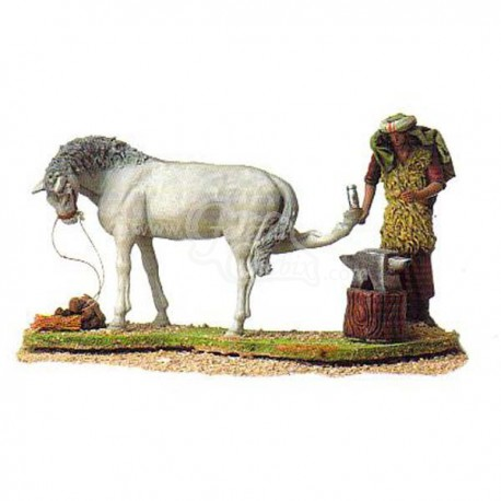 Herrero herrando caballo móvil