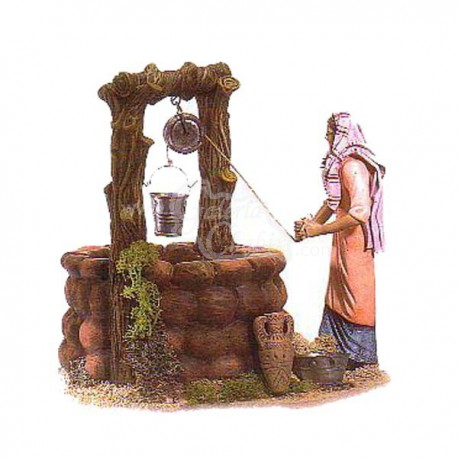 Pastora sacando agua móvil