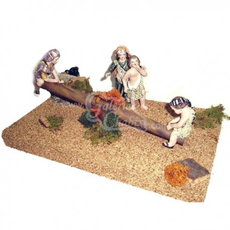 Grupo de 4 niños en columpio