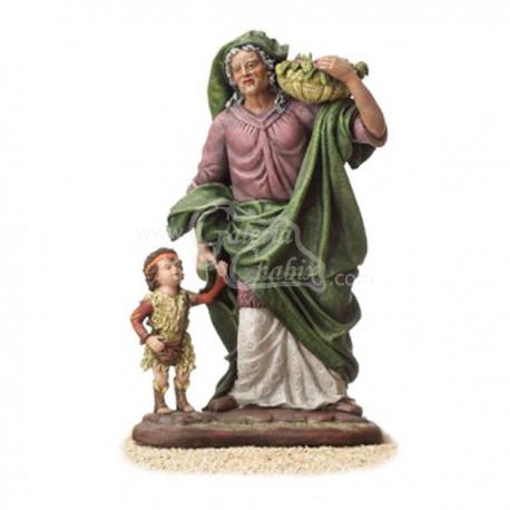 Anciana con cesto y niño